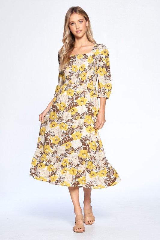 Floral Print Everyday Dress -Mustard - Front