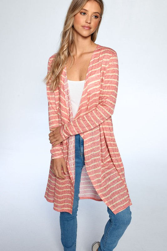 Loose Fit Striped Cardigan -Coral Combo - Front