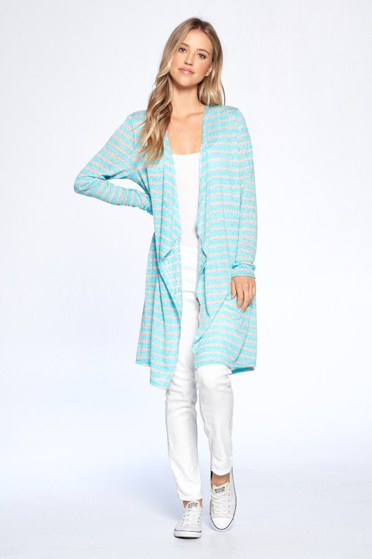 Loose Fit Striped Cardigan -Mint Combo - Front