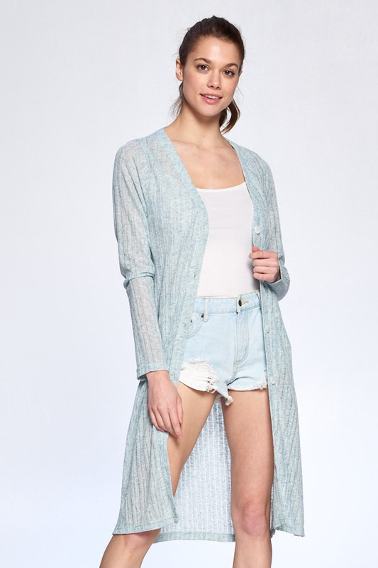 Cozy Long Tail Cardigan -Dusty Blue - Front