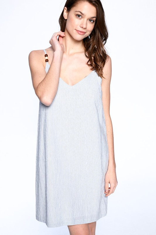 Everyday Night Dress -Blue / Ivory - Front