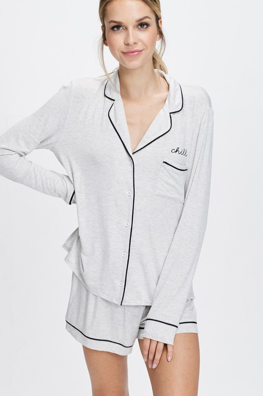 Cozy Nightwear Jacket -Light Heather Grey - Front