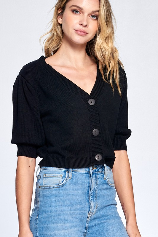 Button Front Short Sleeve Sweater -Black - Front