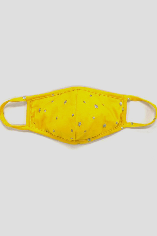 PRE ORDER Silver Star Fashion Mask -Yellow - Front
