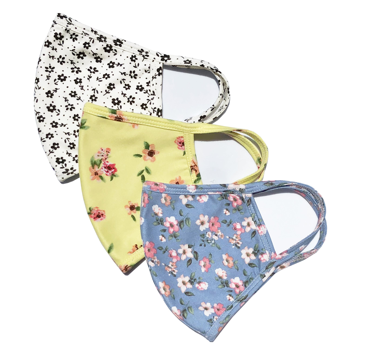 PRE ORDER 3 Pack Ditsy Floral Fashion Masks -Pink, Blue. Black/White - Front
