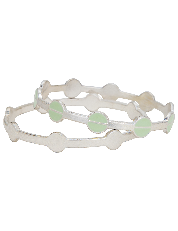 Silver Circle Bangle Bracelet Duo -Silver - Front