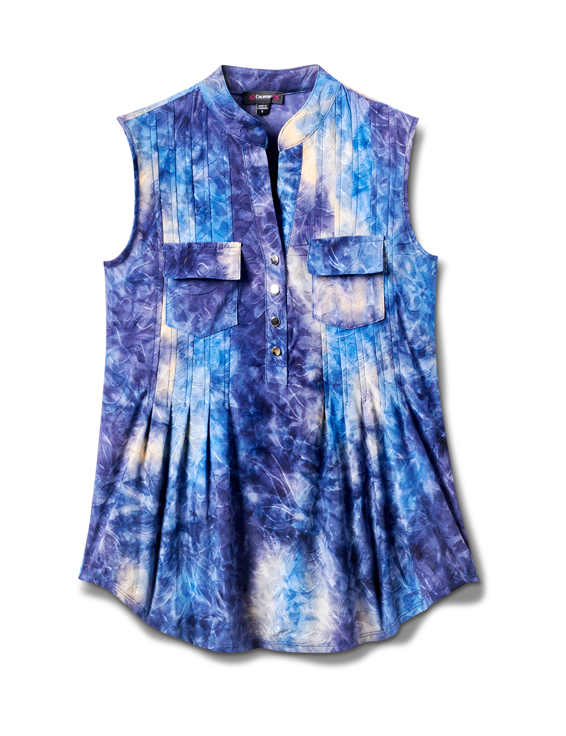 Denim Tie Dye Jaquard Pintuck Popover -Royal/Navy - Front