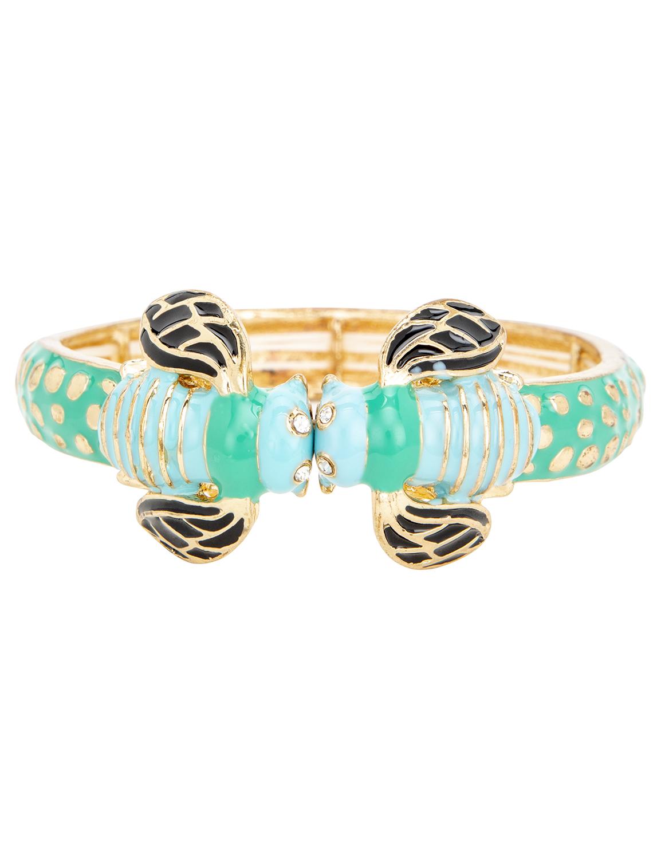 Turquoise Boho Bee Bangle Bracelet -Blue - Front