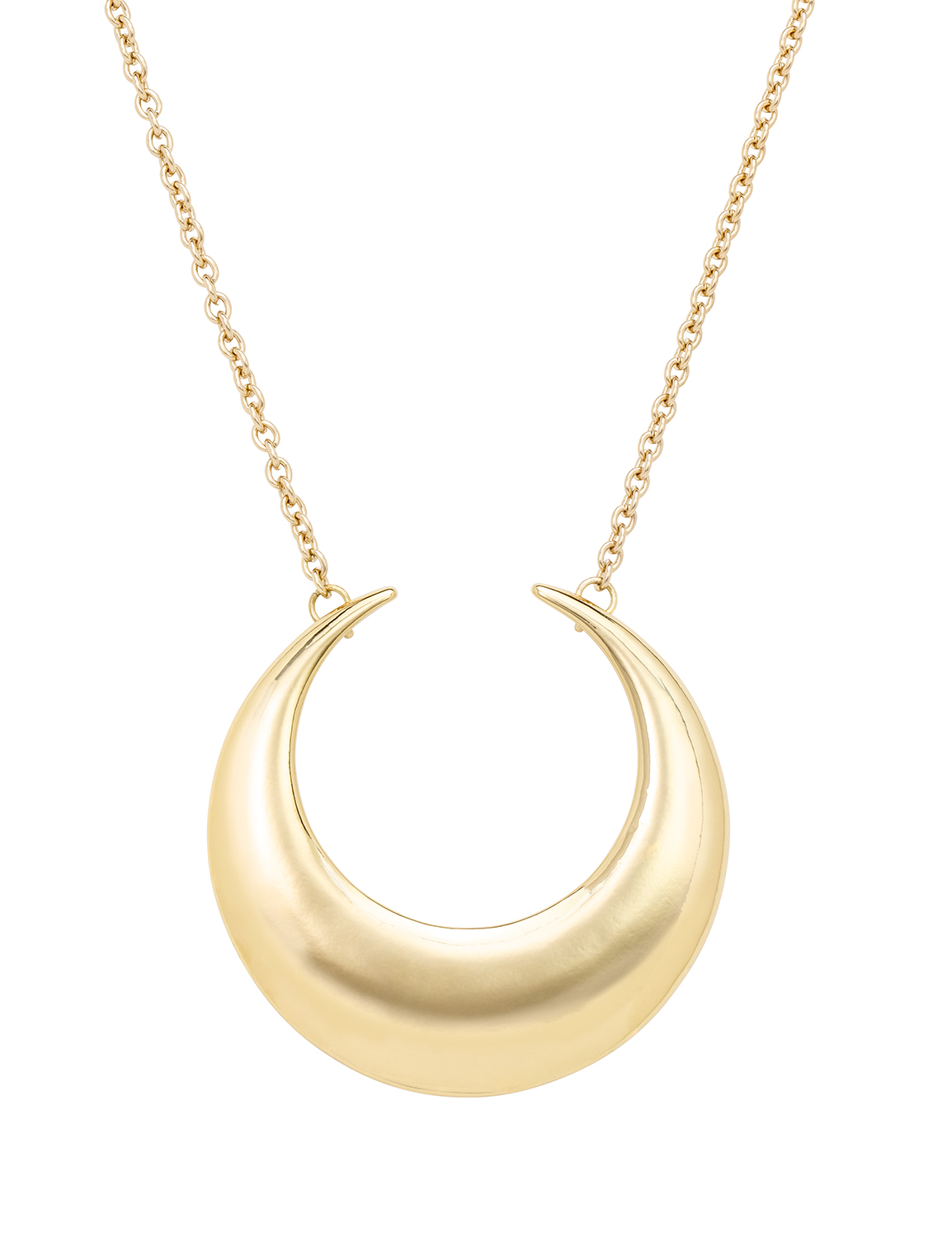 Gold Crescent Moon Necklace -Gold - Front
