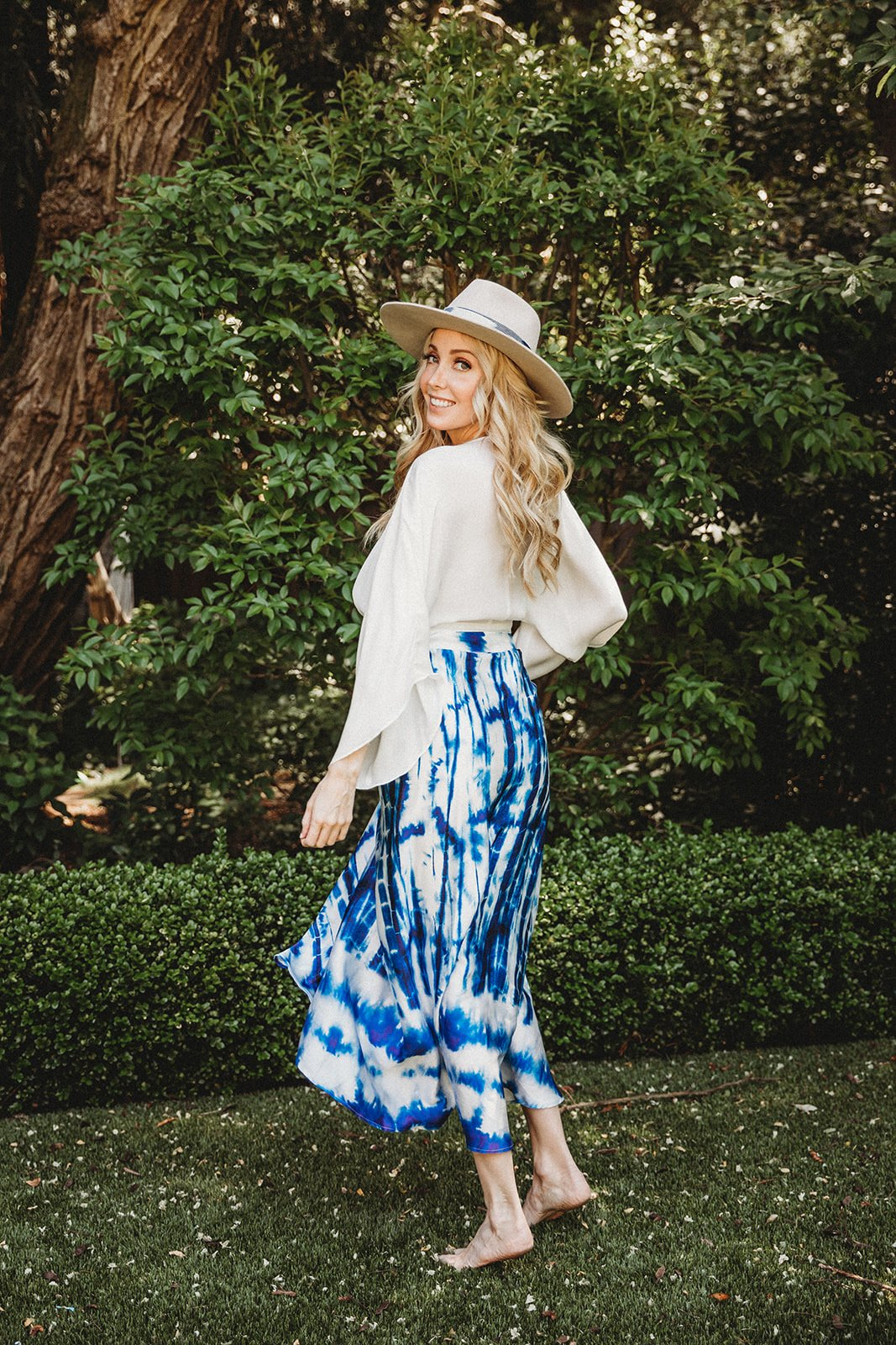 Pre-Order Maxi Skirt in Blue Tie Dye -Blue - Front