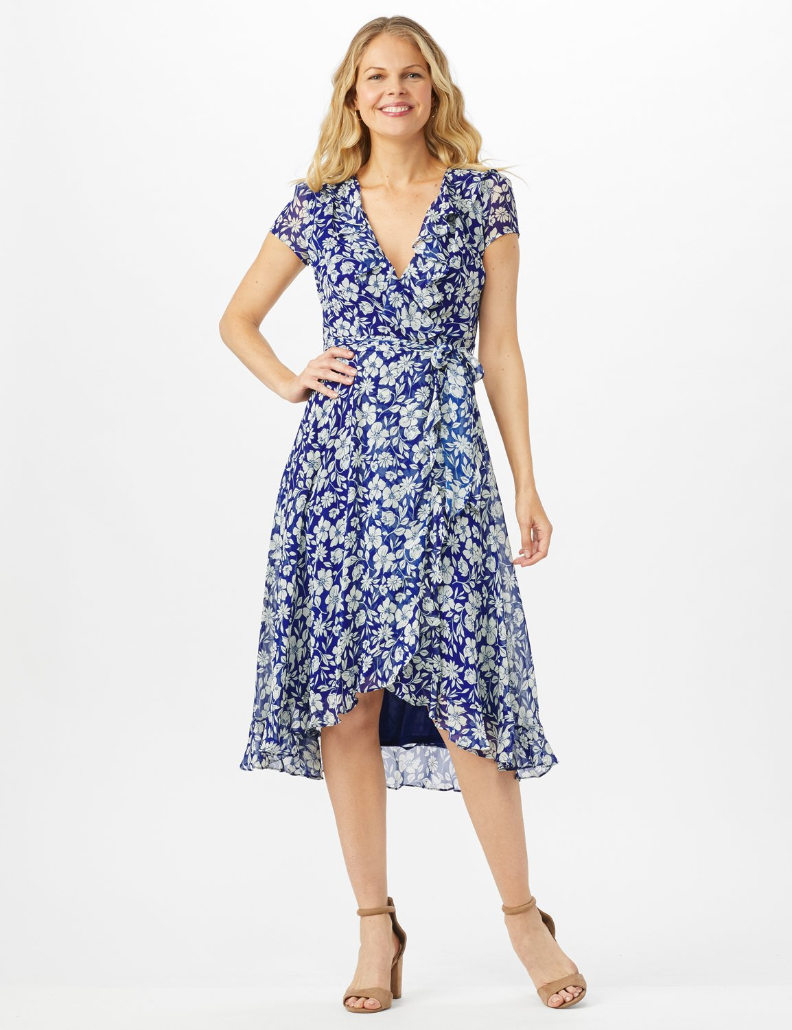 Floral Ruffle Neck Wrap Chiffon Dress -Blue Cream - Front