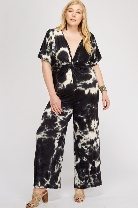 Tie Dye Jumpsuit Front Twist Detail -Black / White - Front