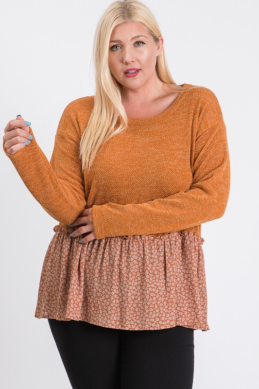 Top With Floral Contrast -Rust - Front