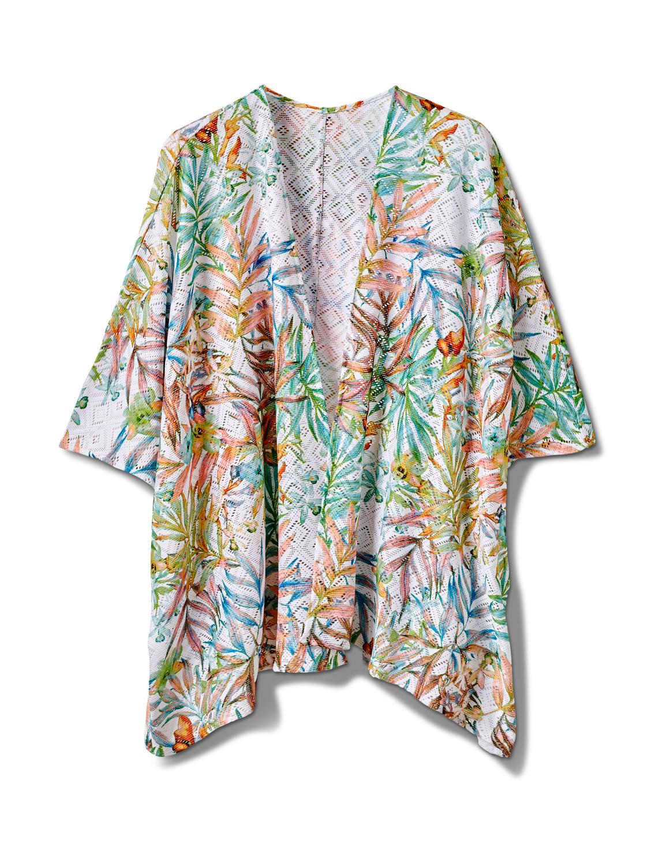 Palm Print Lace Kimono - Misses -Multi - Front
