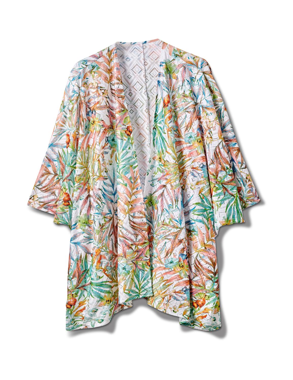 Palm Print Lace Kimono - Plus -Multi - Front