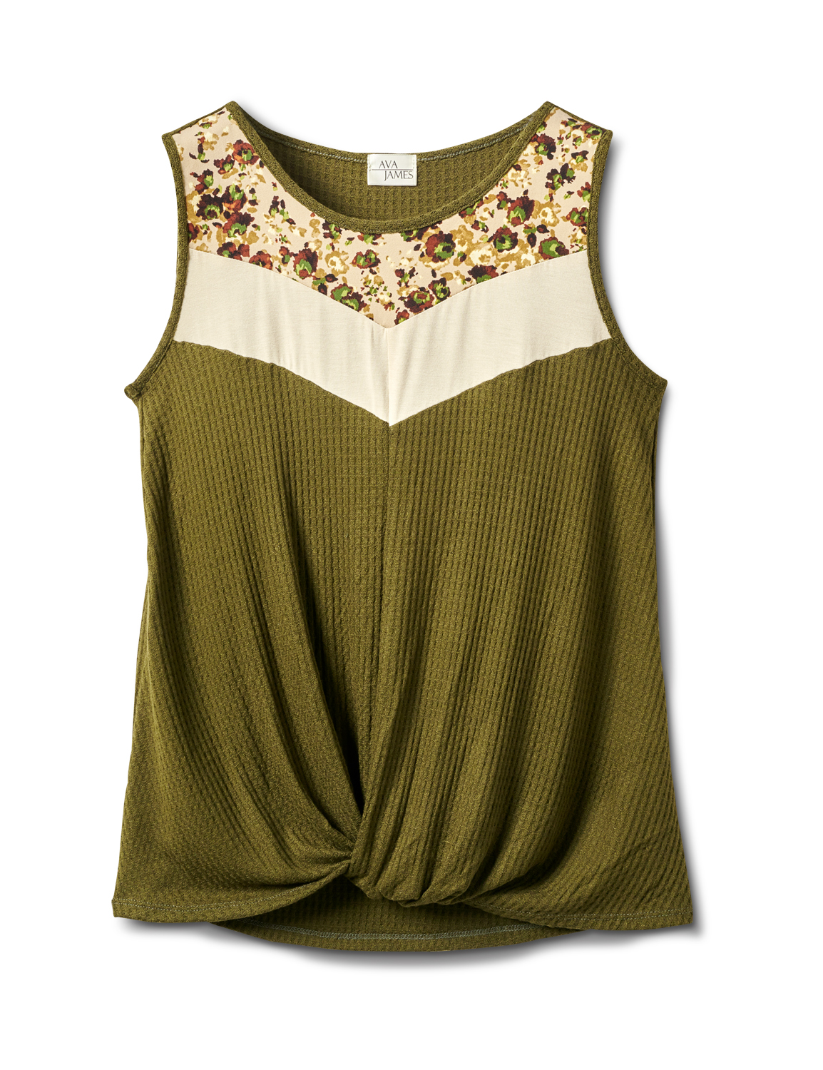 Mixed Camo Knot Front Knit Top -Olive - Front