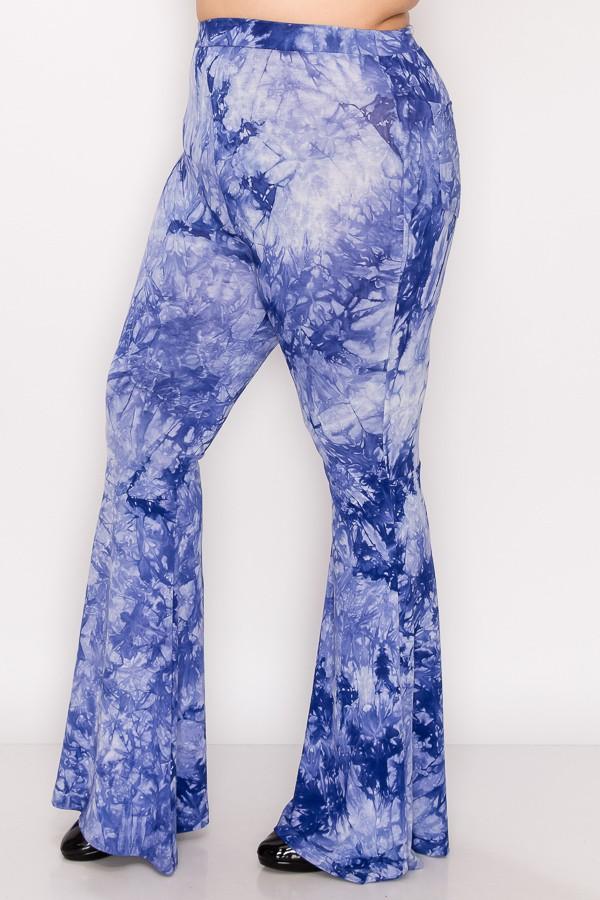 Bold Tie Dye Wide Leg Pants -Denim Blue - Front