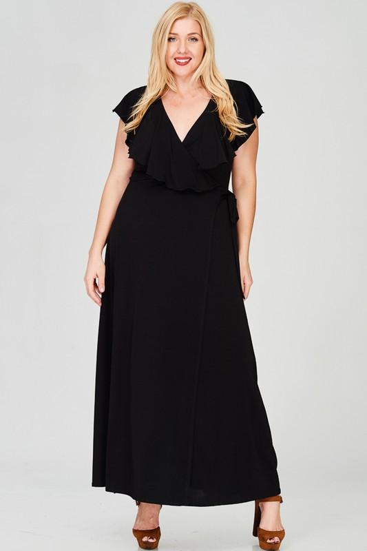 Ruffled Wrap Maxi Dress -Black - Front