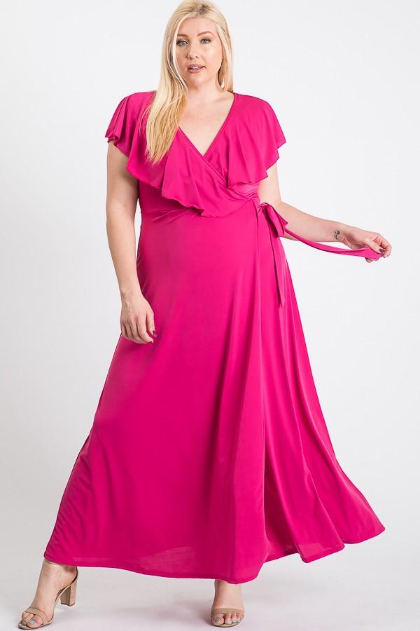 Ruffled Wrap Maxi Dress -fushia - Front
