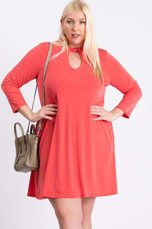 Always Ready Comfy Dress -Coral - Front