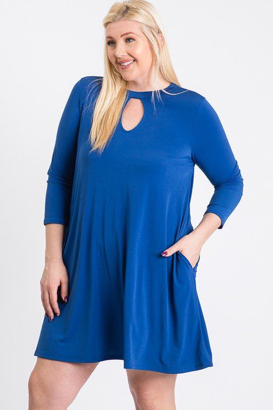 Always Ready Comfy Dress -Royal - Front
