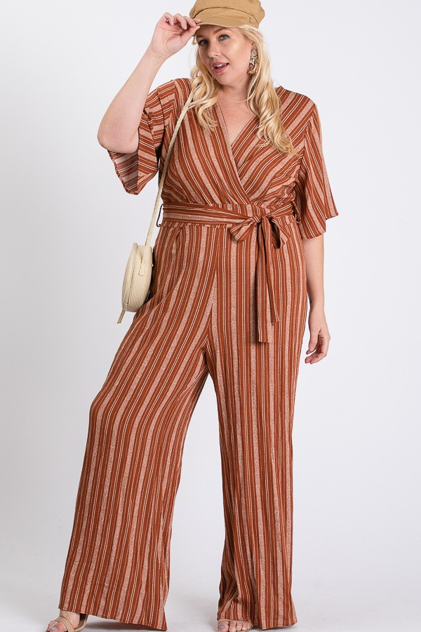 Summer Glam Stripe Jumpsuit -Rust / Cream - Front