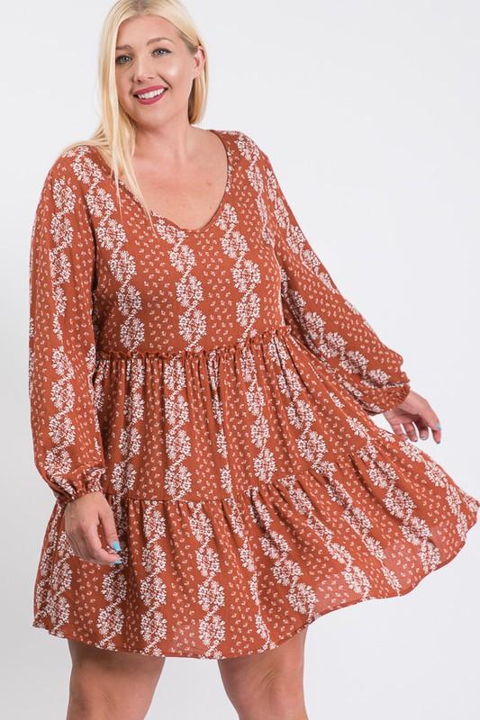 Summer Essential Flowy Dress -Rust / Cream - Front