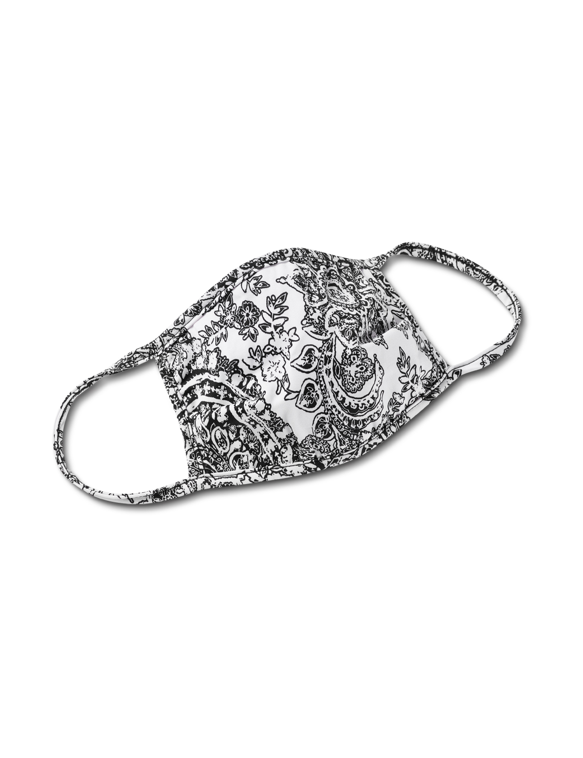 Etched Floral Fashion Mask -Black / White - Front