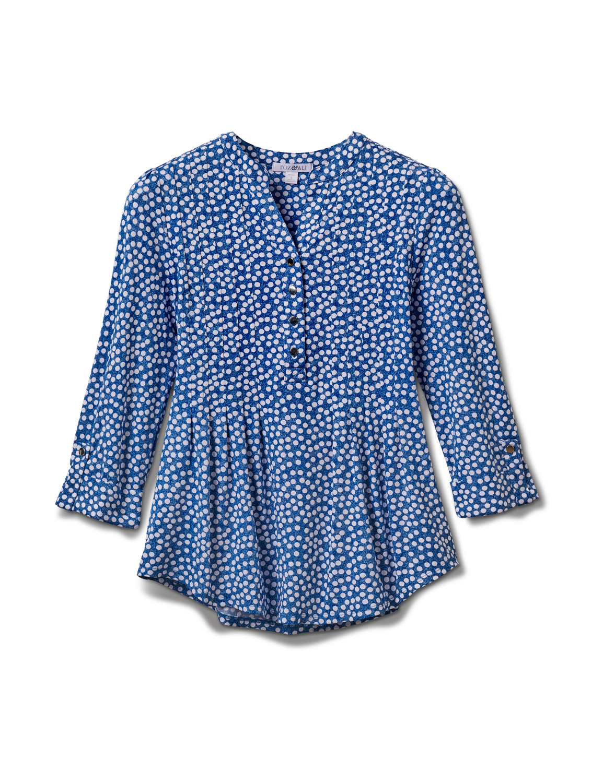 Denim Dot Pintuck Popover Knit Top-Petite -Denim - Front