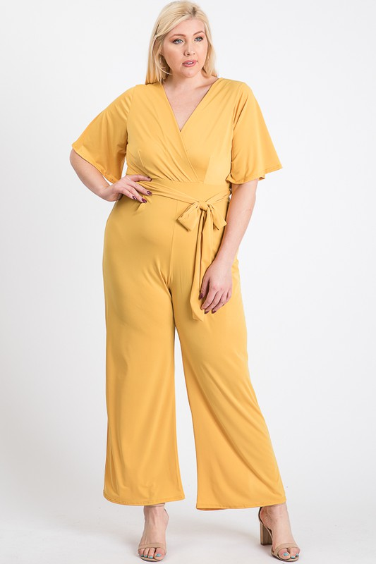 Slayin Yet Simple Jumpsuit -Yellow - Front