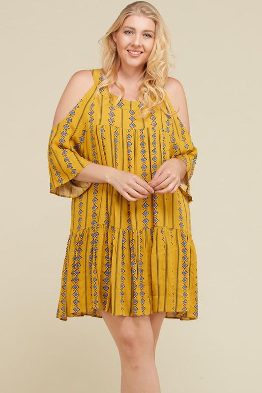 Stripe x Print Short Dress -Mustard - Front