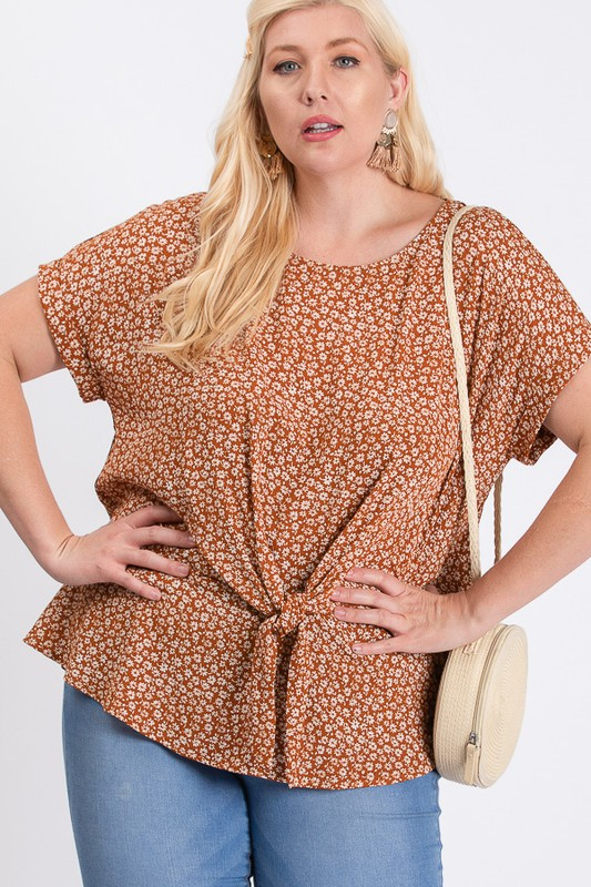 Flower-Printed Top -Rust / Cream - Front