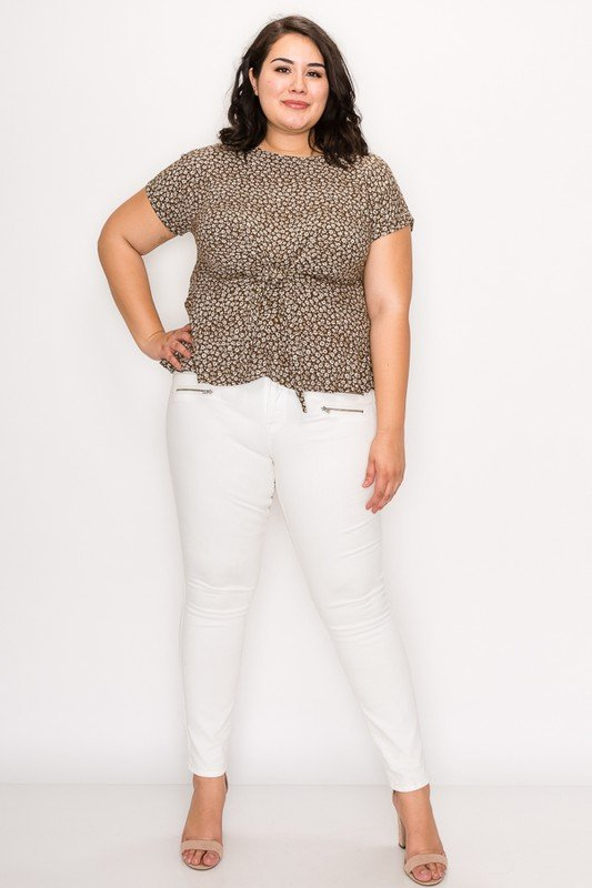Flower-Printed Top -Sage / White - Front