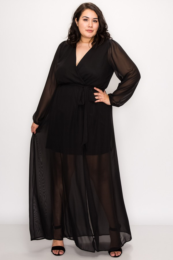 To Wow Maxi Dress -Black - Front