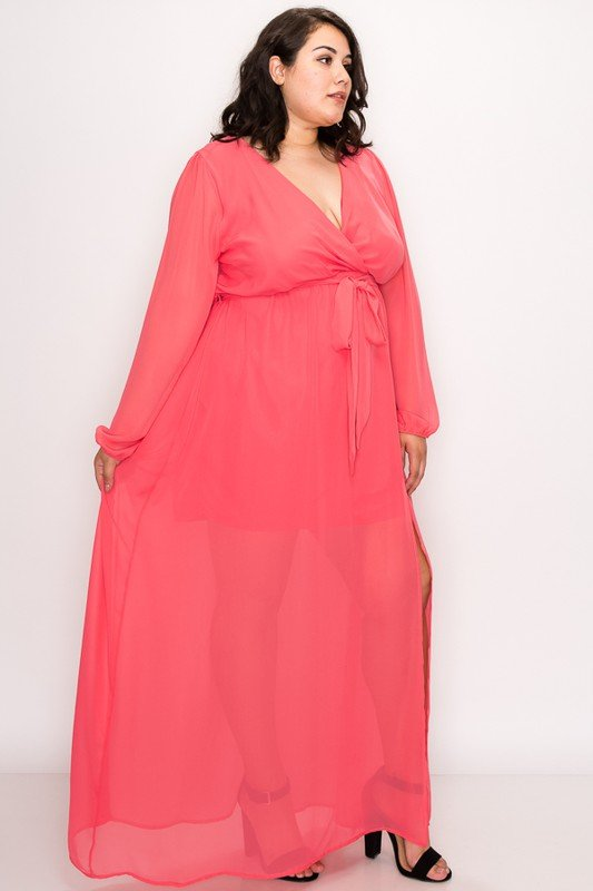 To Wow Maxi Dress -Coral - Front
