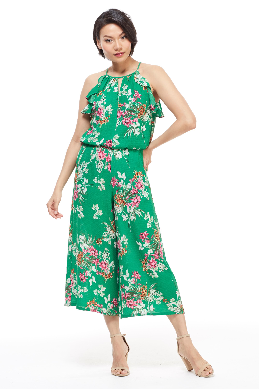 Meadow Halter Ruffle Sleeve Jumpsuit - Misses -Green/Multi - Front