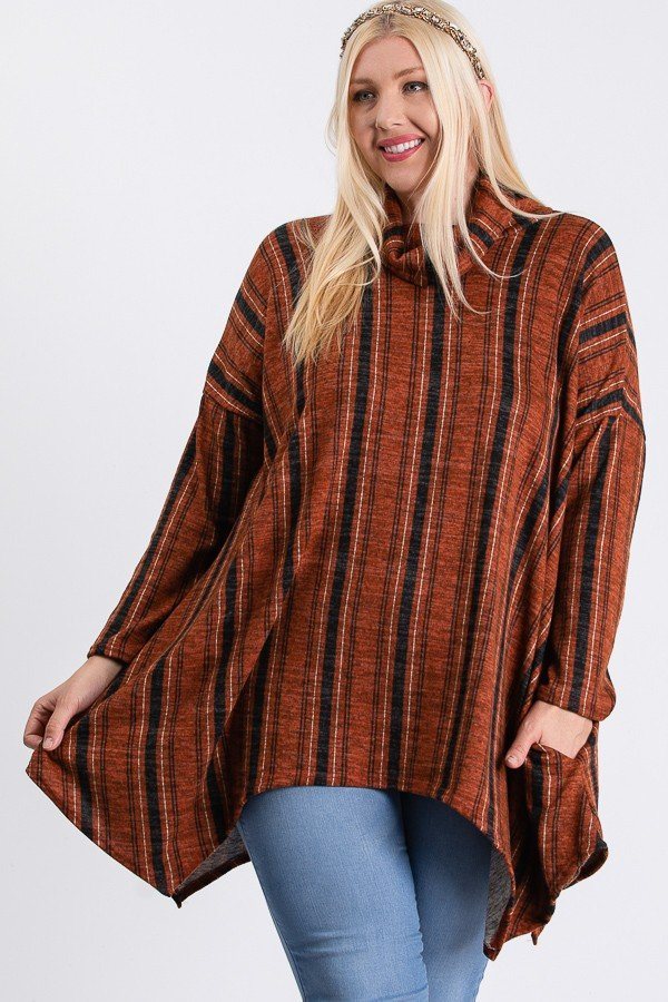 Turtle Neck Cozy Stripped Top -Rust / Black - Front