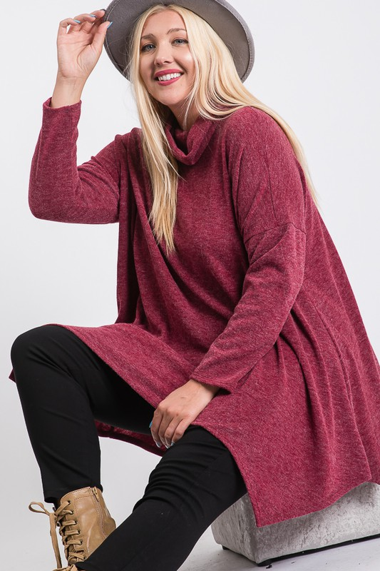 Extra Comfy Loose Top -Burgundy - Front