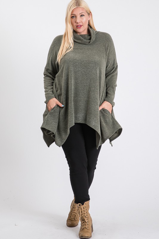 Extra Comfy Loose Top -Olive - Front