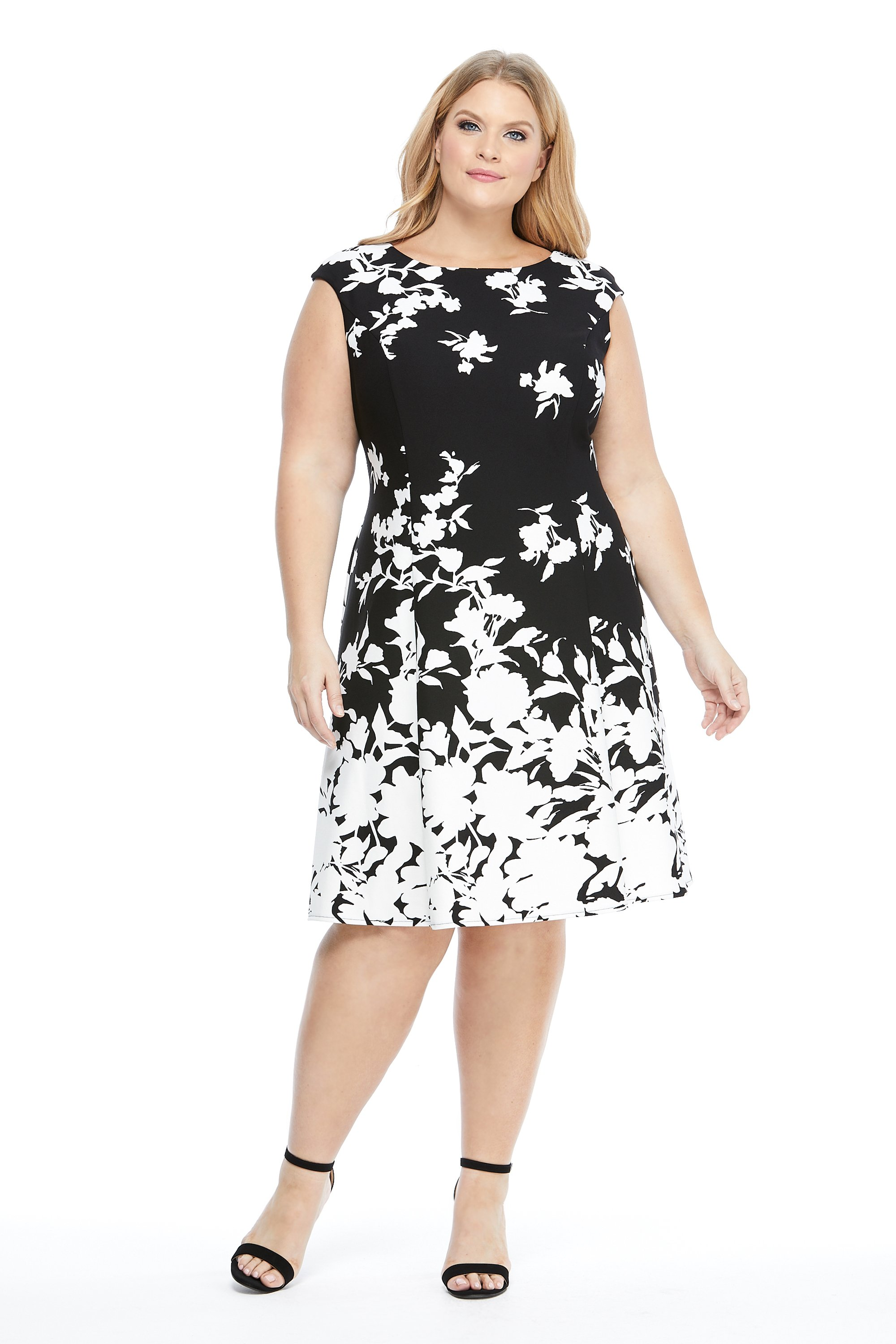 Floral Boarder Fit And Flare Dress -Black/White - Front
