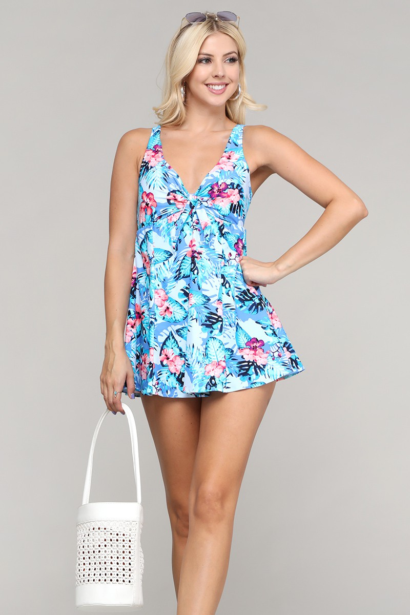 Rouched Front Flowy Skirted Swimsuit -Hibiscus Sky - Front