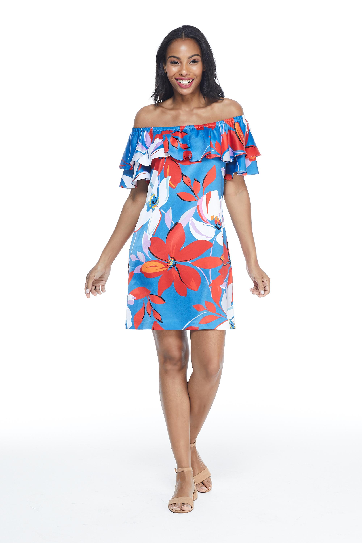 Large Floral Short Sundress - Misses -Red/Blue - Front