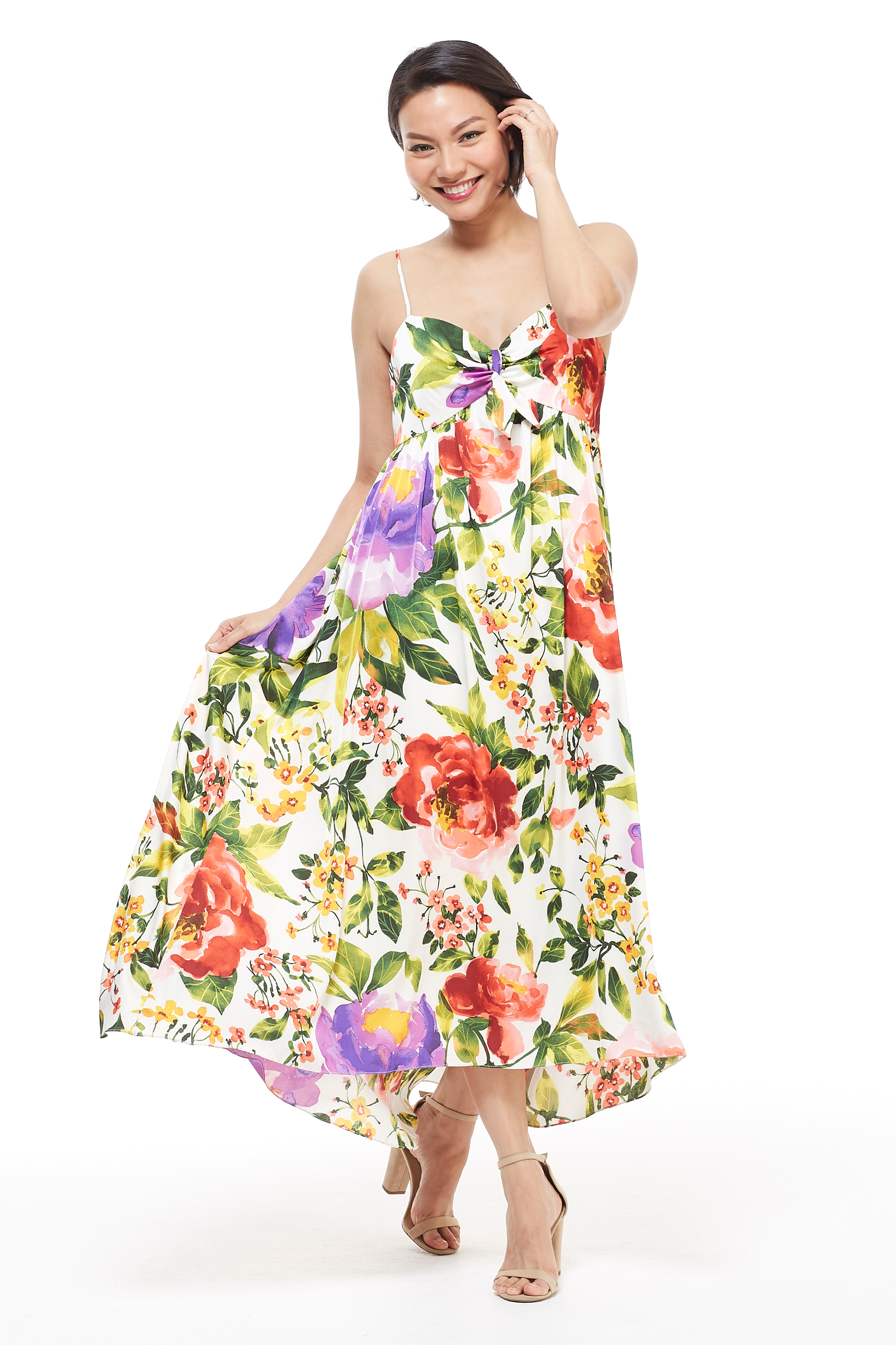 Floral Midi Knot Tie Sundress -Red/Purple - Front