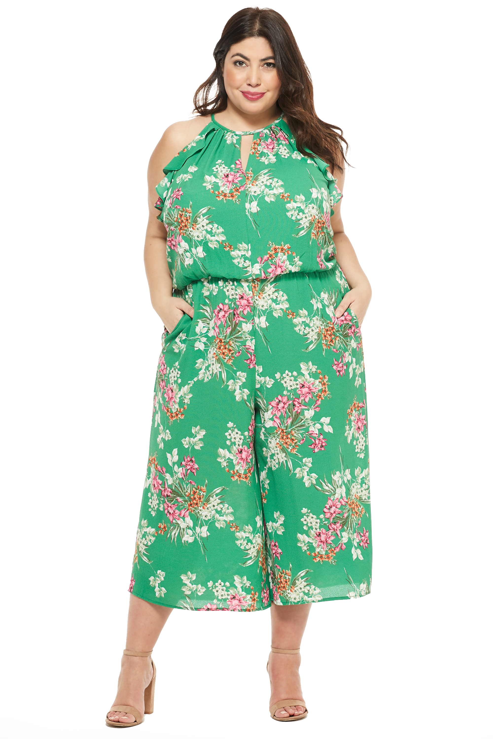 Meadow Halter Ruffle Sleeve Jumpsuit -Green/Multi - Front