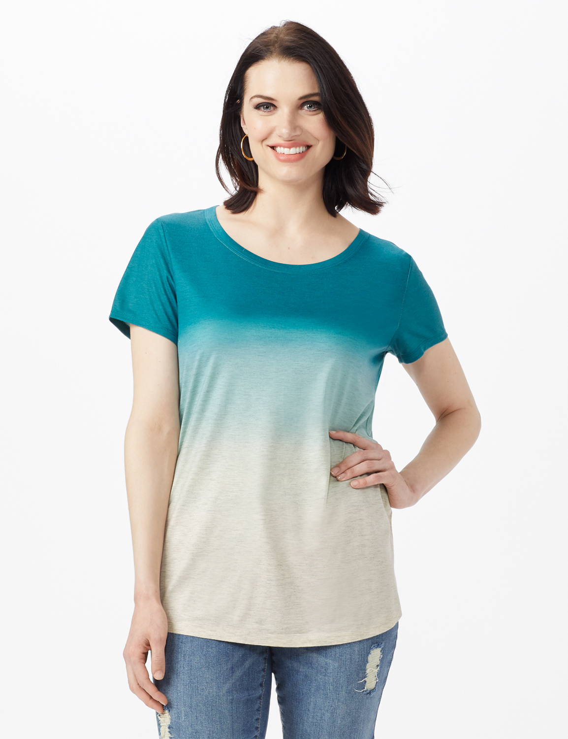 Heathered Ombre Knit Tee -Blue - Front