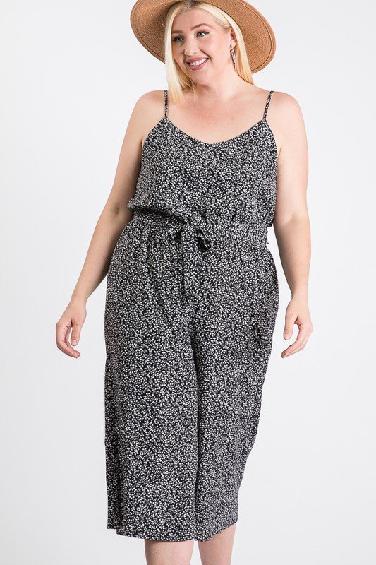 Welcome to Summer Floral Jumpsuit -Black - Front