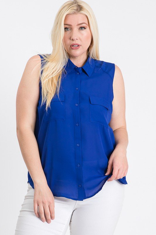 The Not So Classic Buttoned Top -Royal - Front