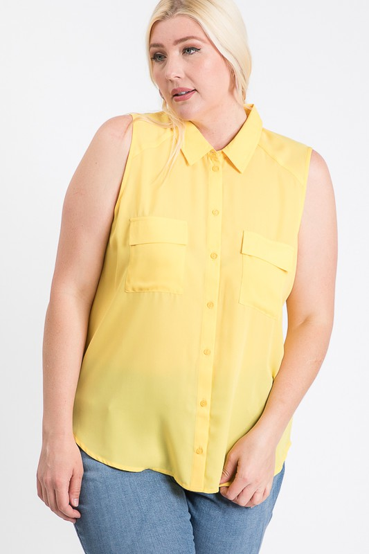 The Not So Classic Buttoned Top -Yellow - Front