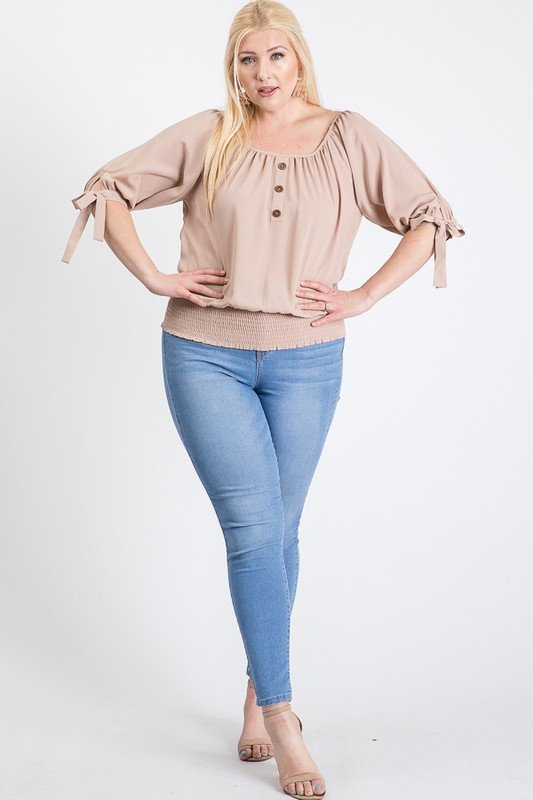 Simply Cute Off-Shoulder x Smocking Top -Khaki - Front