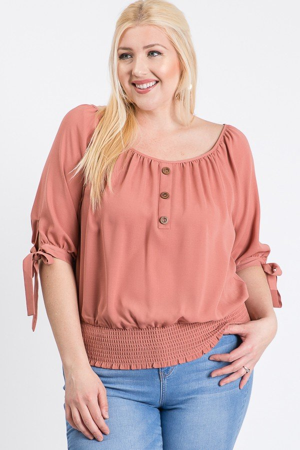 Simply Cute Off-Shoulder x Smocking Top -Terracotta - Front